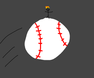 stick figure Johnny Test on a baseball