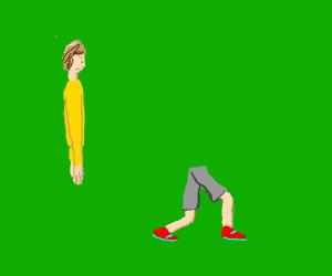 Legs running away fromt upper body