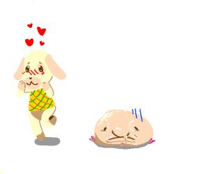 animal crossing villager in love w/ blobfish