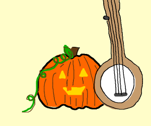 Pumpkin Man plays banjo at halloween