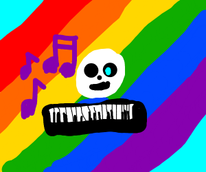 Keyboard flying on a rainbow but with sans