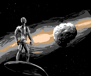 Silver Surfer goes to an asteroid