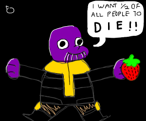 Chibby Thanos with a stawberry
