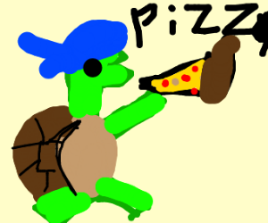 teenage mutant  ninja turtle eating pizza