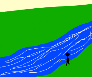 dude peeing in a river