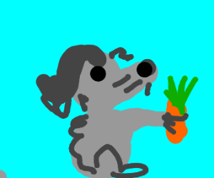 a rat with a mullet grabbing a carrot