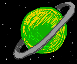 Green and yellow planet with grey ring