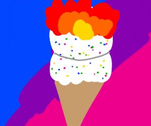 Ice cream on fire