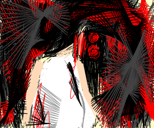 Eyeless bloddy Girl with hugh knive