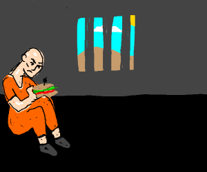 Creepy man in jail with sub sandwich