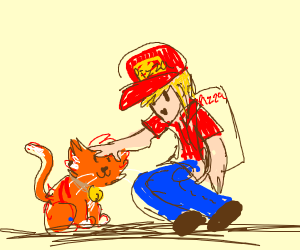 Pizza deliverer pets a cat