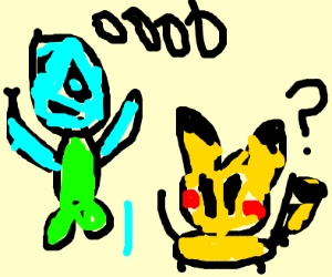 "Alien says ""Ooo what's this?"" to Pikachu"