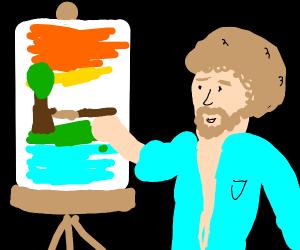 Bob ross drawing a happy little tree