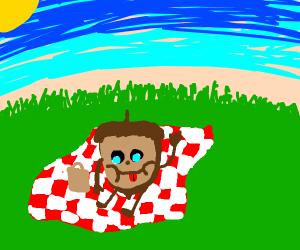 Acorn sitting in a field