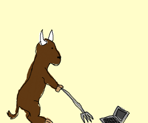 Bison harvesting a Laptop