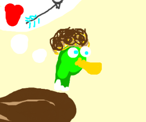 curly haired duck talks about love arrows