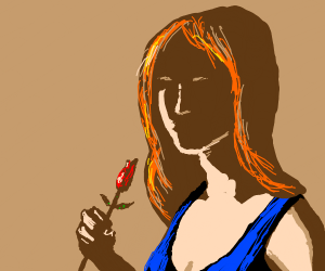 ginger girl in blue tank top holding a rose