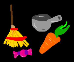 Broom, Pot, Apple, carrot, tenbal, candy, etc
