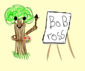 Tree paints a Bob Ross