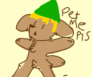 Doggo with Link's hair & hat wants to be pet