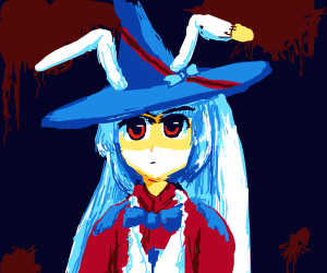 Witch with rabbit ears on her hat