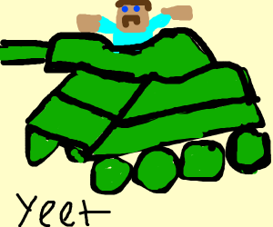 Steve from Minecraft and a tank