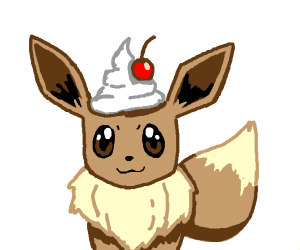 eevee with chantili with cherry on the head