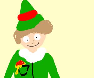 elf guy has pocket full of spagehtti