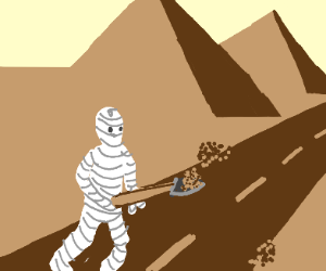 Mummy building a road using a shovel