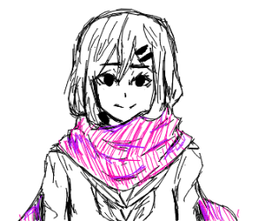 girl in a big scarf