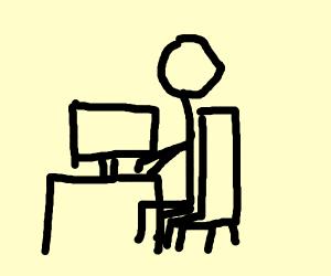 Guy using a laptop