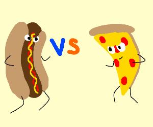 Hotdog And Pizza Fight