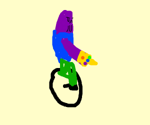 Thanos riding a unicycle