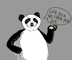Angry panda giving out negative vibes