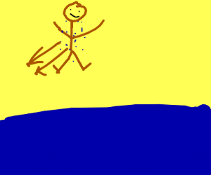 running down the beach