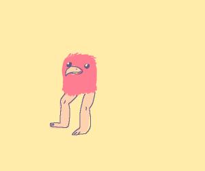 Realistic bird head with human legs