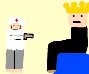 Roblox nurse shooting a roblox king with gun.