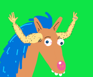 Horse has human arms growing from head