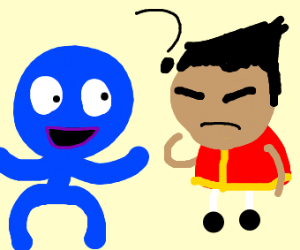 blue guy confuses chinese man