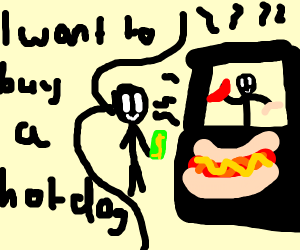 Dude buys hotdog from hotdog stand