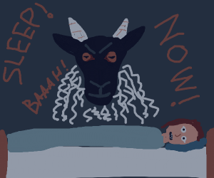 Sheep waiting for girl to sleep