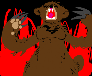 Busty bear is mad