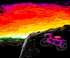 Pink bike at sunset
