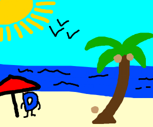Drawception D on a tropical vacation