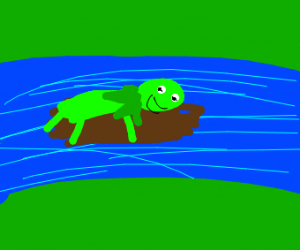 Kermit floating on a log in a river