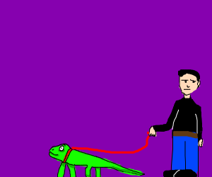 Person with pet lizard