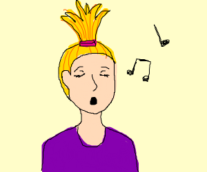 blond girl with ponytailin the front, singing