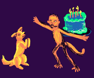 Monkey doesn't allow hungry dog to eat cake