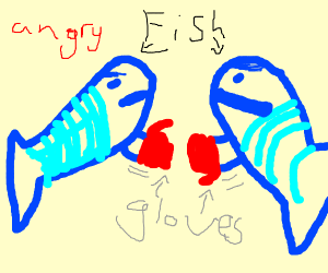 Zwo angry fish boxing