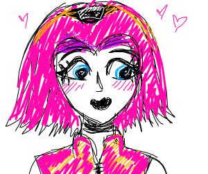 Pink haired anime ninja girl
